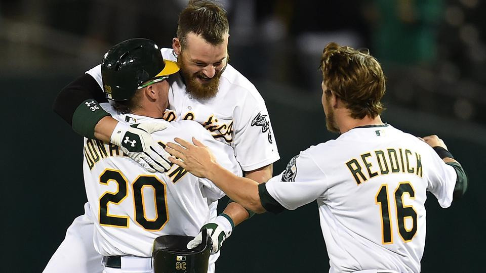 Athletics, Angels keep AL West race tight in wild Monday games