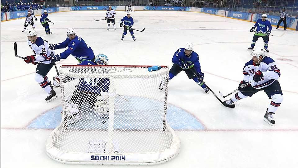 Shrugging off any letdown from their dramatic win over Russia, Phil Kessel (right) gave Team USA a big burst of offense vs. Slovenia.
