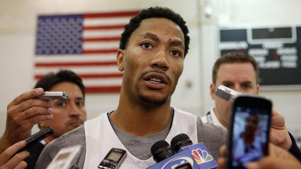 Derrick Rose of the Chicago Bulls speaks to the press after a team practice at the Brooklyn Nets training facility in East Rutherford, N.J.