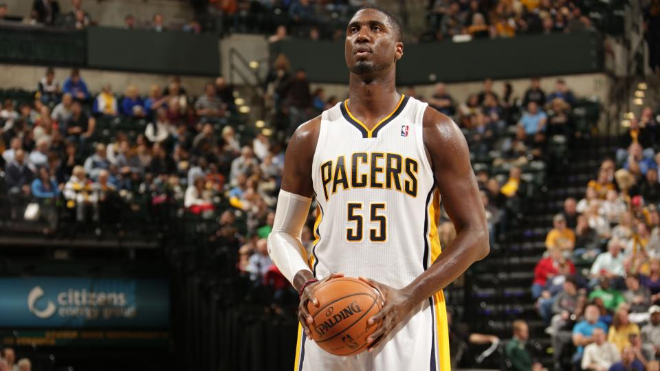 Pacers center Roy Hibbert working with Kareem Abdul-Jabbar