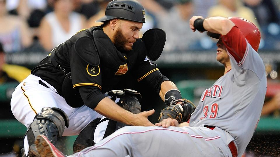 The home plate collision rule was improperly applied to a play last Wednesday between the Pirates and Reds, according to MLB.