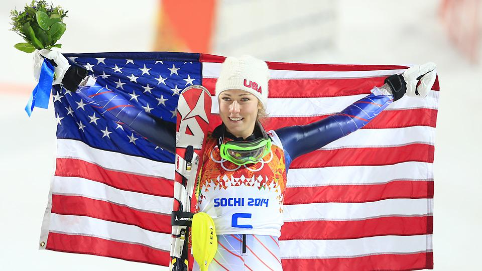 Eighteen-year-old U.S. alpine skier Mikaela Shiffrin won her first gold at the Sochi Games in the women's slalom Friday.