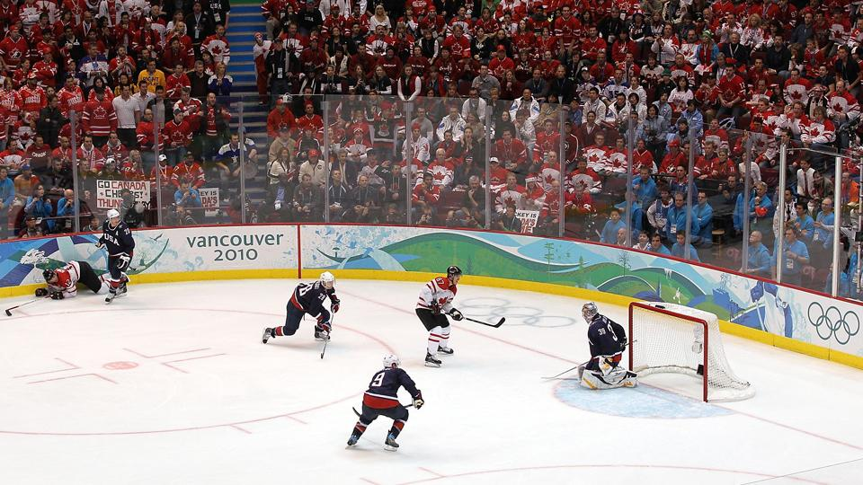 Sidney Crosby scored the gold medal-winning goal against the U.S. at the 2010 Olympics. The two teams play Friday in a semifinal.