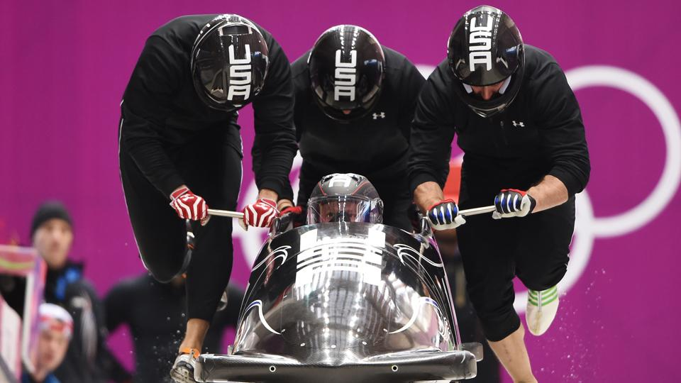 Driver Steven Holcomb and the U.S.' four-man bobsled team are a threat to repeat as Olympic champion.