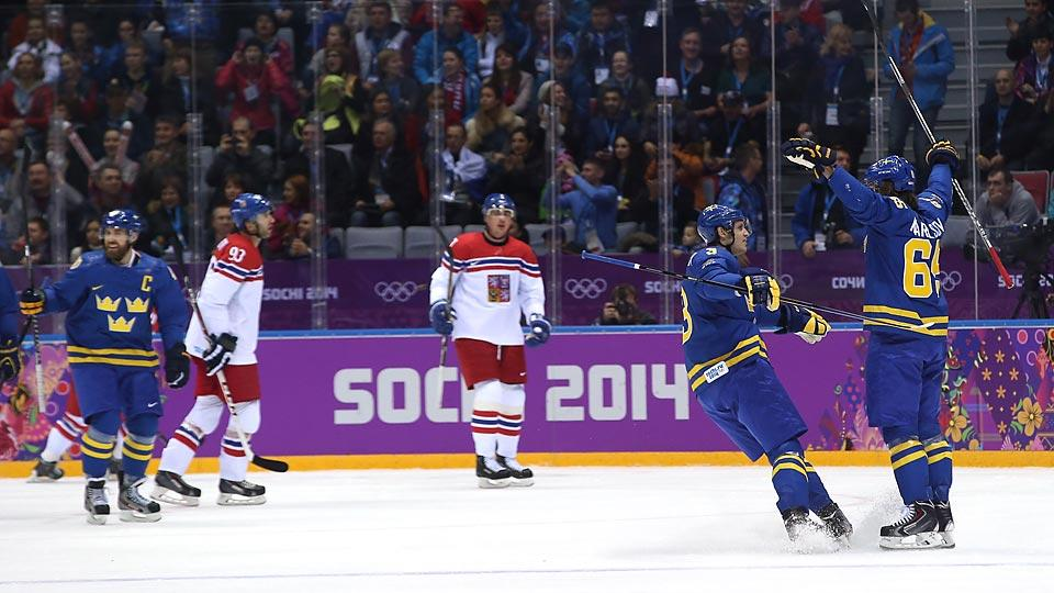 Erik Karlsson (far right) was impressive against the Czechs, scoring a goal to go with a commanding defensive performance.