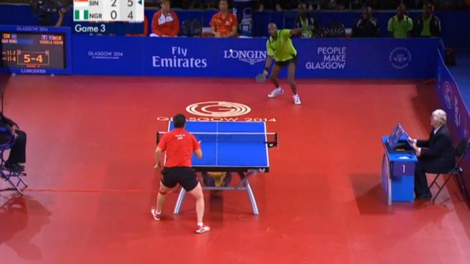 Singapore and Nigeria in commonwealth games table tennis rally