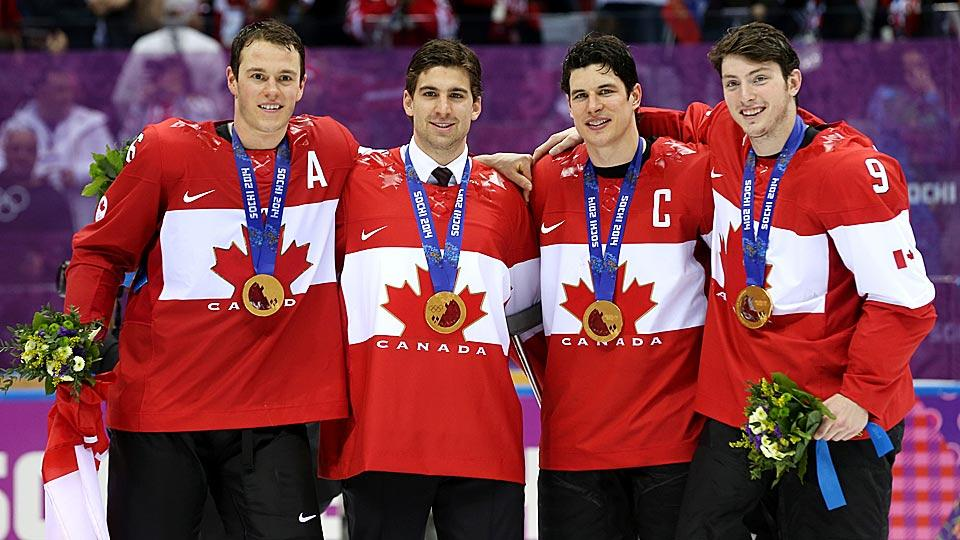 Gold has become a frequent complementary color to the distinctive, classic sweaters worn by Team Canada in Olympic games.