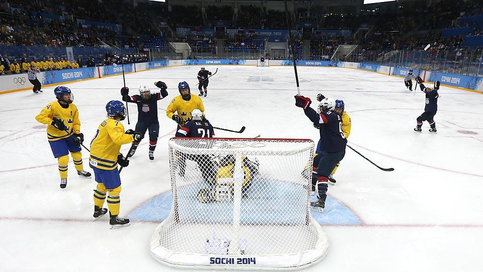 The United States peppered Sweden's goal with shots throughout its 6-1 win in the Olympic semifinal on Monday.
