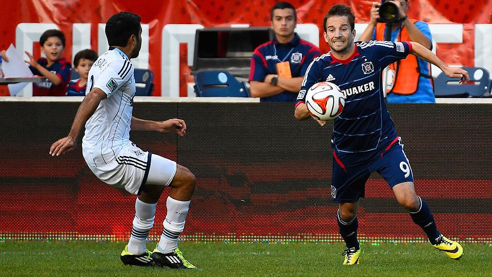 Mike Magee (right) and the Fire could not break through against the Whitecaps at home.