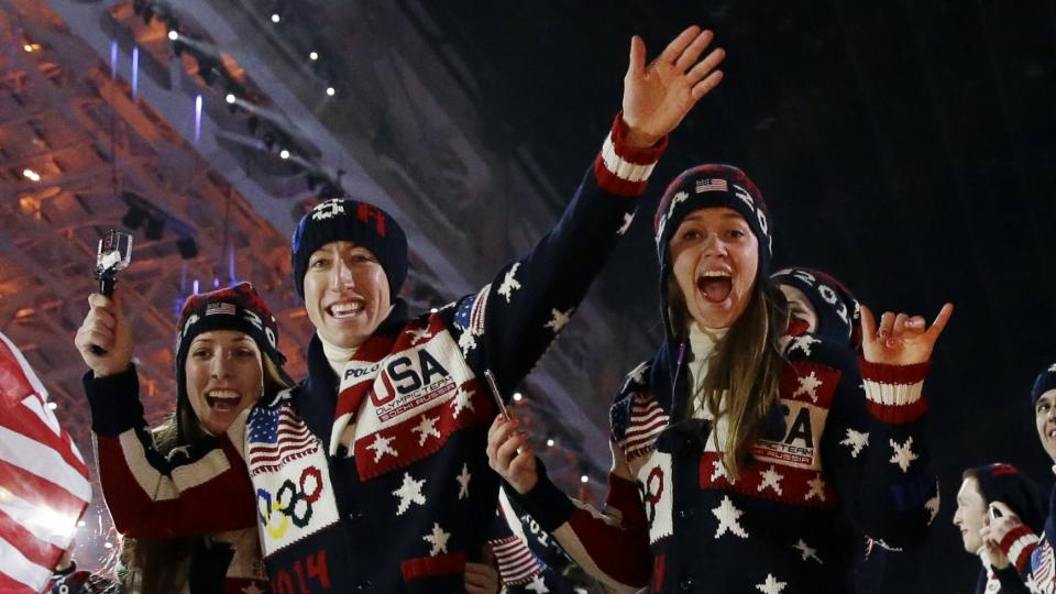 The United States team arrives during the opening ceremony of the 2014 Winter Olympics in Sochi, Russia, Friday, Feb. 7, 2014. (AP Photo/Patrick Semansky)
