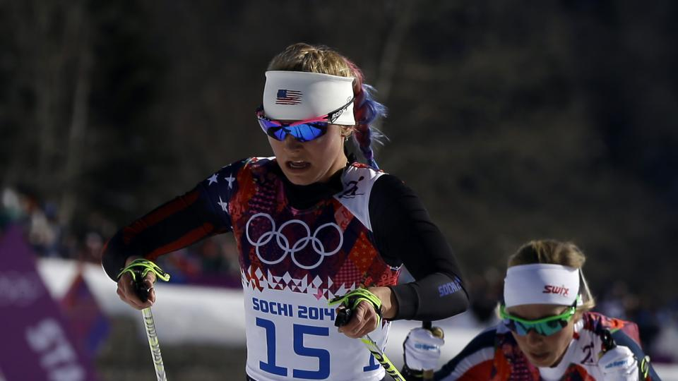Jessica Diggins, of the United States, competes during the women's cross-country 15k skiathlon at the 2014 Winter Olympics, Saturday, Feb. 8, 2014, in Krasnaya Polyana, Russia. (AP Photo/Kirsty Wigglesworth)