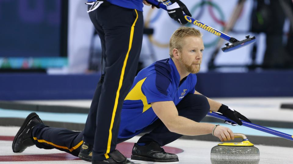 Sweden skip Niklas Edin delivers the stone during men's curling training at the 2014 Winter Olympics, Saturday, Feb. 8, 2014, in Sochi, Russia. (AP Photo/Robert F. Bukaty)