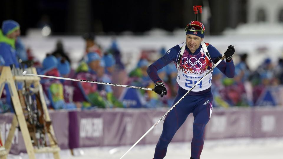 Norway's Ole Einar Bjoerndalen leaves the shooting range during the men's biathlon 10k sprint.