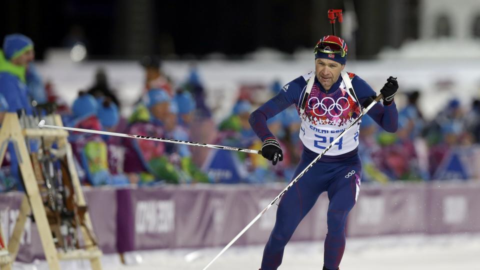 Norway's Ole Einar Bjoerndalen leaves the shooting range during the men's biathlon 10k sprint.