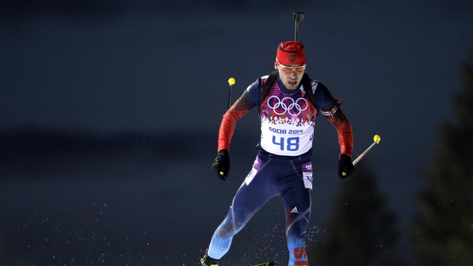Russia's Anton Shipulin competes during the men's biathlon 10k sprint, at the 2014 Winter Olympics, Saturday, Feb. 8, 2014, in Krasnaya Polyana, Russia. (AP Photo/Felipe Dana)