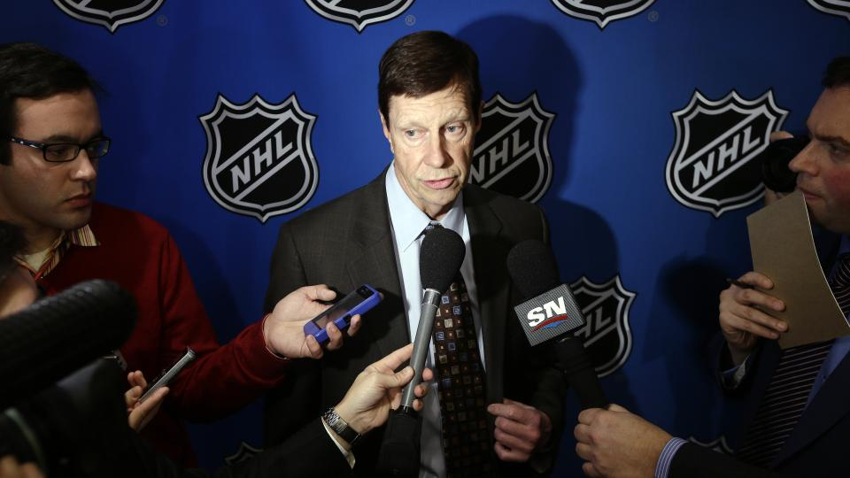 Nashville Predators general manager David Poile speaks to reporters, Wednesday, Jan. 9, 2013, in New York. NHL owners ratified the tentative labor deal on Wednesday. All that now remains is player approval to finally start the hockey season. (AP Photo/Frank Franklin II)