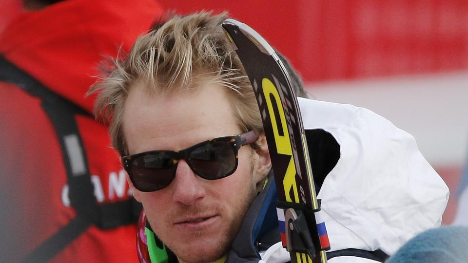 United States' Ted Ligety stands near the finish area after completing Men's super combined downhill training.