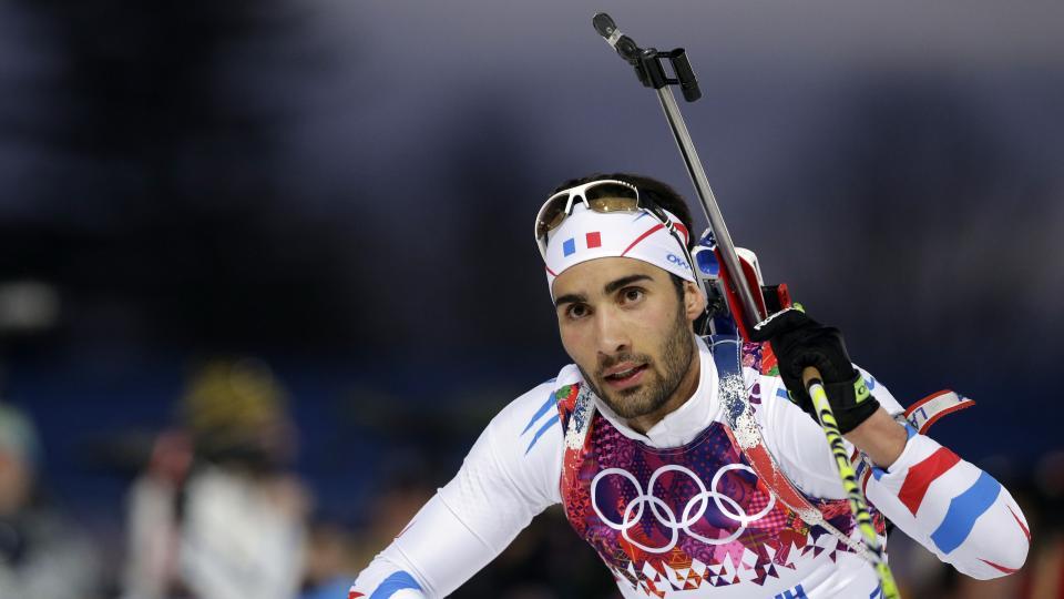Martin Fourcade approaches the shooting range during the men's biathlon 20k individual race.
