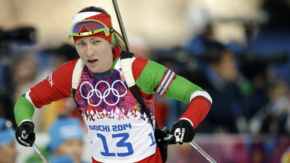 Belarus' Darya Domracheva competes during the women's biathlon 15k individual race, at the 2014 Winter Olympics, Friday, Feb. 14, 2014, in Krasnaya Polyana, Russia. (AP Photo/Lee Jin-man)