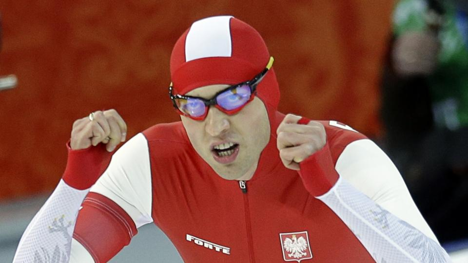 Poland's Zbigniew Brodka  celebrates after racing in the men's 1,500-meter speedskating at the Adler Arena Skating Center during the 2014 Winter Olympics in Sochi, Russia, Saturday, Feb. 15, 2014. (AP Photo/Patrick Semansky)