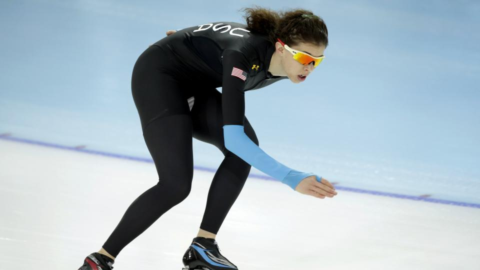 Speedskater Maria Lamb of the U.S. trains at the Adler Arena Skating Center during the 2014 Winter Olympics, Tuesday, Feb. 18, 2014, in Sochi, Russia. (AP Photo/Matt Dunham)