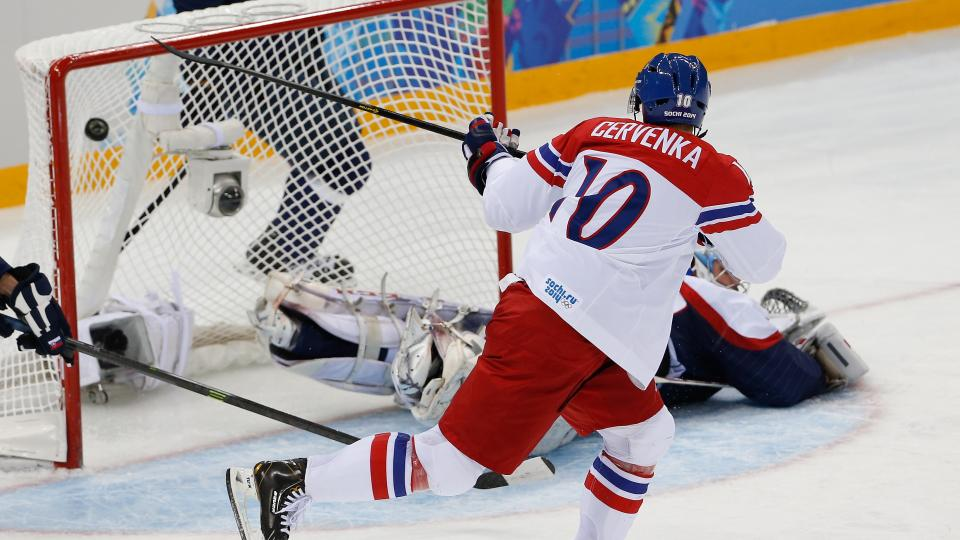 Forward Roman Cervenka's shot finds the net during the first period of the Czech Republic's 5-3 victory over Slovakia.