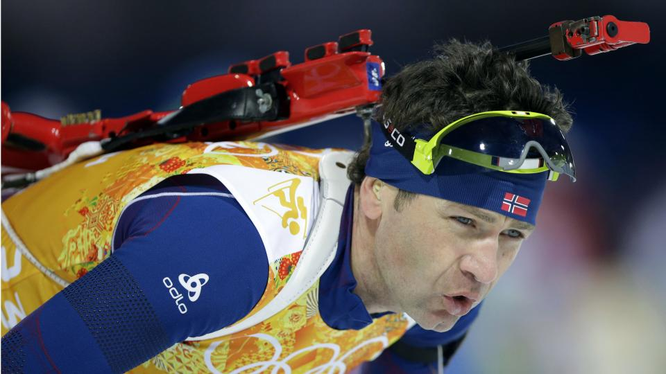 Norway's Ole Einar Bjoerndalen approaches the shooting range during the mixed biathlon relay Wednesday.