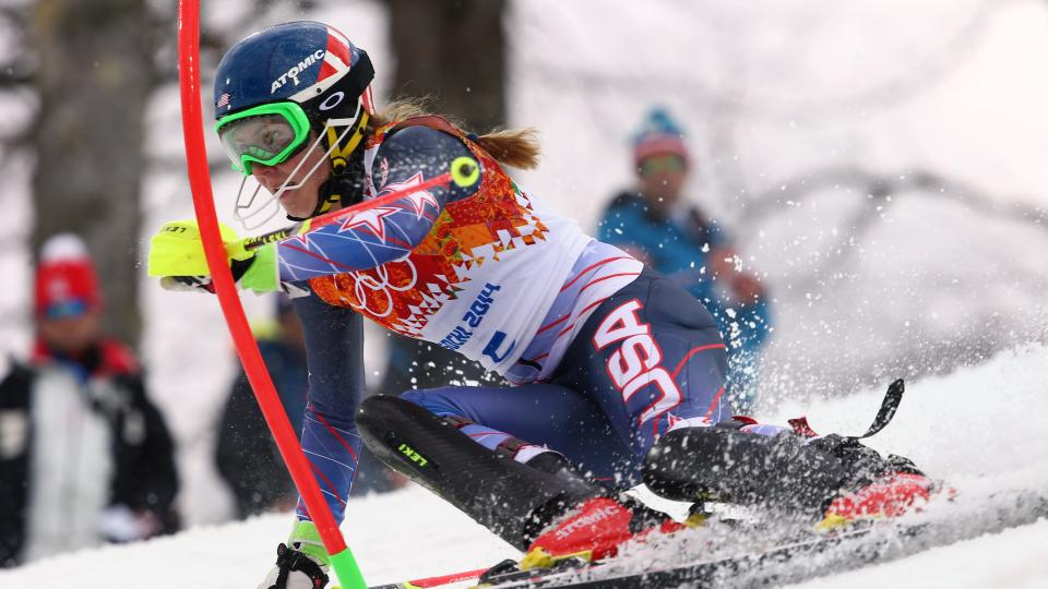 United States' Mikaela Shiffrin skis past a gate during the women's slalom at the Sochi 2014 Winter Olympics, Friday, Feb. 21, 2014, in Krasnaya Polyana, Russia. (AP Photo/Alessandro Trovati)