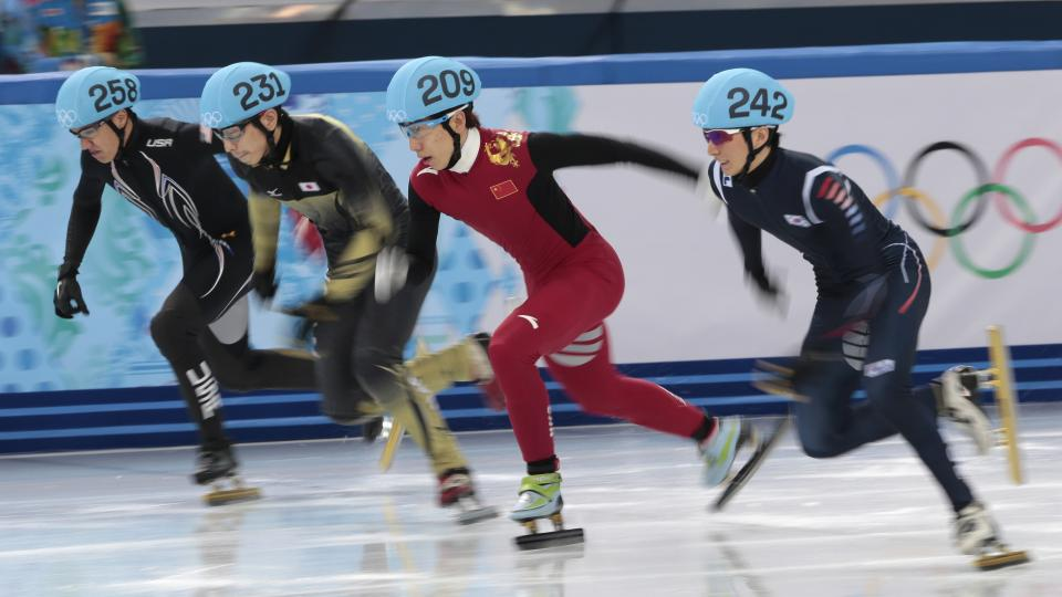 From left, J.R. Celski of the United States, Satoshi Sakashita of Japan, Han Tianyu of China, and Park Se-Yeong of South Korea start in a men's 500m short track speedskating quarterfinal at the Iceberg Skating Palace during the 2014 Winter Olympics, Friday, Feb. 21, 2014, in Sochi, Russia. (AP Photo/Ivan Sekretarev)