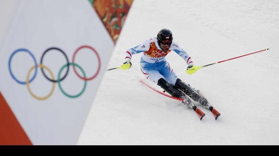 Austria's Mario Matt nears the finish during his first run in the men's slalom Saturday.