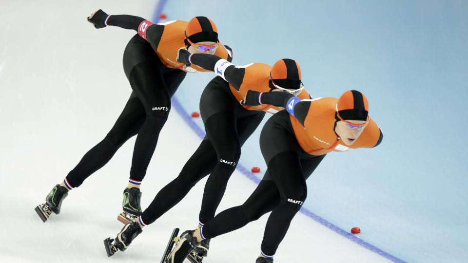 Dutch speed skaters dominated the women's team pursuit, setting an Olympic record en route to their country's eighth speed skating gold medal in Sochi.