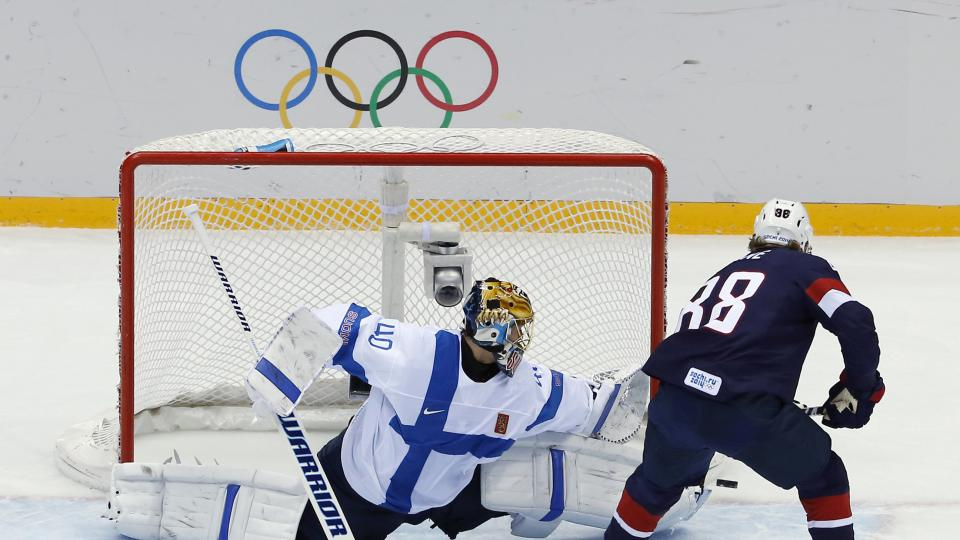 USA forward Patrick Kane failed to score on two penalty-shot attempts against Finland goaltender Tuukka Rask, who made 26 saves to preserve a shutout.