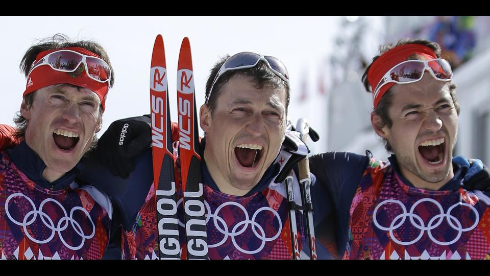 Russia capped off its most successful Olympics ever with a sweep in the men's 50K cross-country race Sunday.