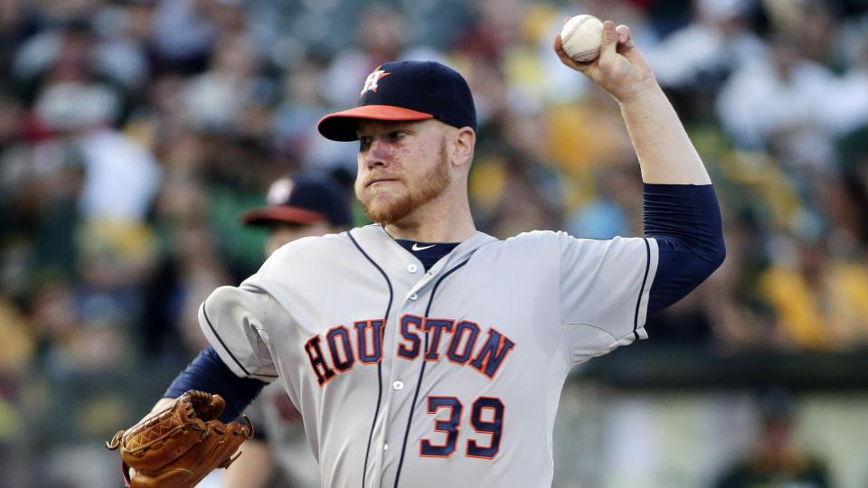 Houston Astros starting pitcher Brett Oberholtzer throws to the Oakland Athletics during the first inning of a baseball game on Tuesday, July 22, 2014, in Oakland, Calif. (AP Photo)