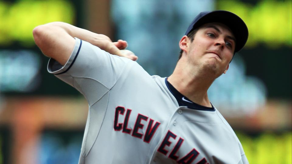 Cleveland Indians pitcher Trevor Bauer throws against the Minnesota Twins in the first inning of a baseball game, Wednesday, July 23, 2014, in Minneapolis. (AP Photo/Jim Mone)