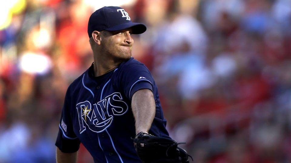 Tampa Bay Rays starting pitcher Alex Cobb throws during the first inning of a baseball game against the St. Louis Cardinals, Wednesday, July 23, 2014, in St. Louis. (AP Photo/Jeff Roberson)