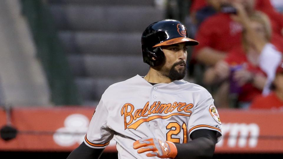 Baltimore Orioles' Nick Markakis watches his RBI-single during the third inning of a baseball game against the Los Angeles Angels in Anaheim, Calif., Wednesday, July 23, 2014. (AP Photo/Chris Carlson)