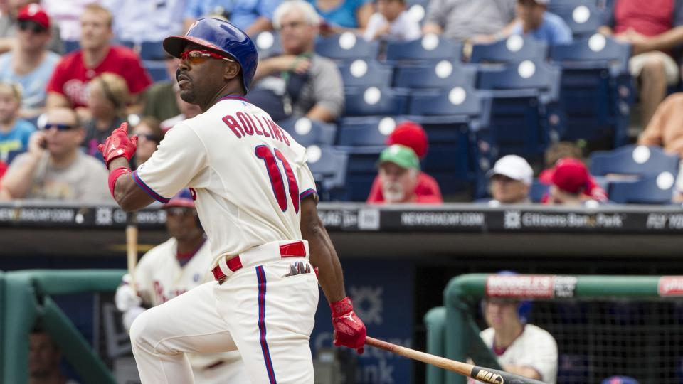 Philadelphia Phillies' Jimmy Rollins hits a double during the first inning of a baseball game against the San Francisco Giants, Thursday, July 24, 2014, in Philadelphia. (AP Photo/Chris Szagola)