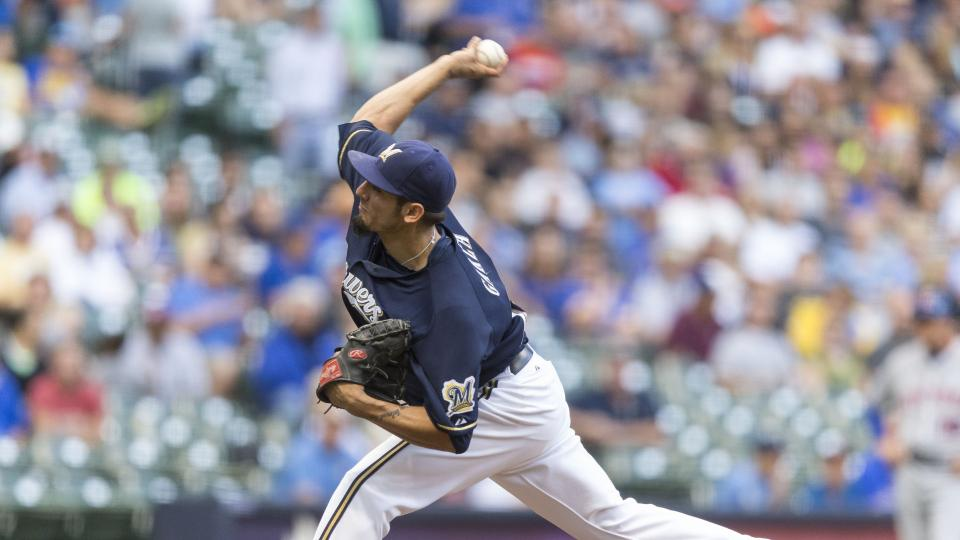 Milwaukee Brewers' Matt Garza pitches to a New York Mets batter during the first inning of a baseball game on Thursday, July 24, 2014, in Milwaukee. (AP Photo/Tom Lynn)