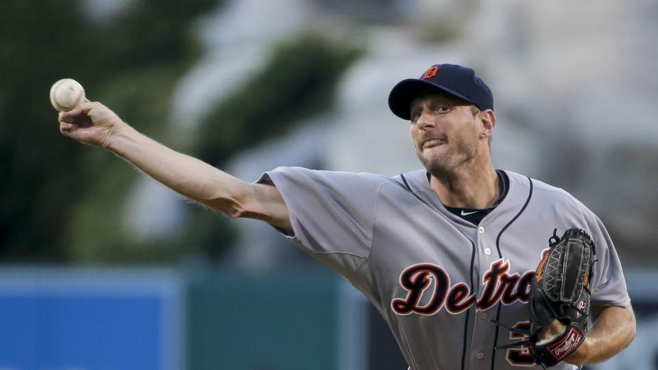 Detroit Tigers starting pitcher Max Scherzer throws against the Los Angeles Angels during the first inning of a baseball game in Anaheim, Calif., Thursday, July 24, 2014. (AP Photo/Chris Carlson)
