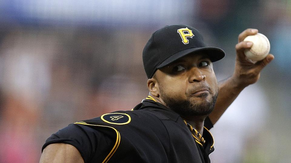 Pittsburgh Pirates' Francisco Liriano works against the San Francisco Giants in the first inning of a baseball game Tuesday, July 29, 2014, in San Francisco. (AP Photo/Ben Margot)