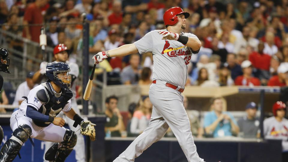 St. Louis Cardinals' Matt Adams watches his deep drive against the San Diego Padres with two runners on base in the third inning of a baseball game Tuesday, July 29, 2014, in San Diego. The ball came up just short for a long out.  (AP Photo/Lenny Ignelzi)
