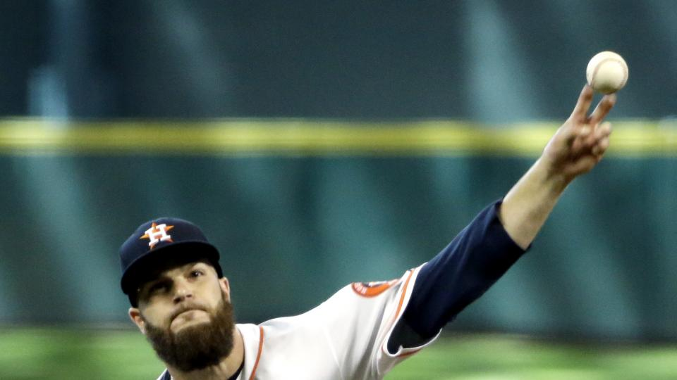 Houston Astros starting pitcher Dallas Keuchel throws against the Oakland Athletics during the eighth inning of a baseball game Wednesday, July 30, 2014, in Houston. (AP Photo/David J. Phillip)