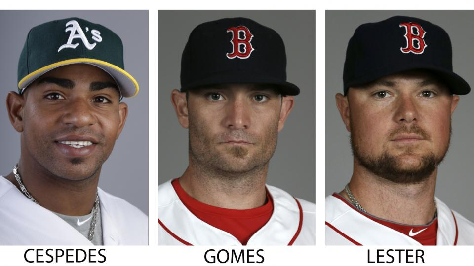FILE - From left are 2014 file photos showing Oakland Athletics' Yoenis Cespedes, and Boston Red Sox players Jonny Gomes and Jon Lester. A person with knowledge of the trade says the Athletics have won the Jon Lester sweepstakes, acquiring the left-hander