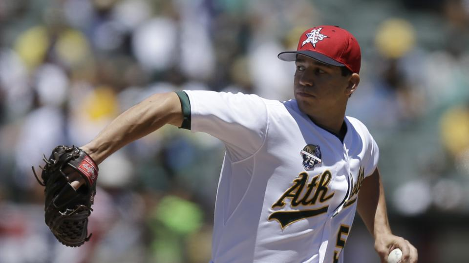 Oakland Athletics' Tommy Milone works against the Toronto Blue Jays in the first inning of a baseball game on Friday, July 4, 2014, in Oakland, Calif. (AP Photo/Ben Margot)