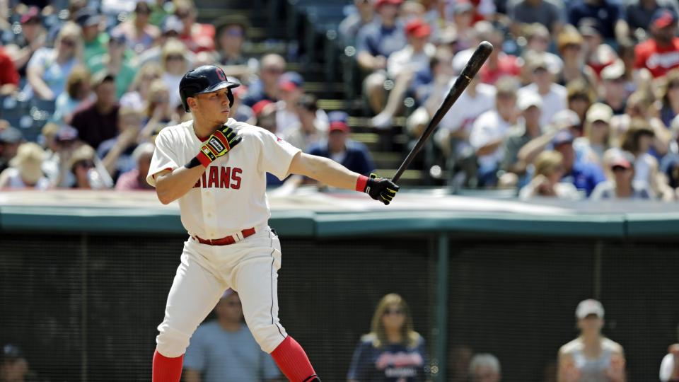Cleveland Indians' Asdrubal Cabrera bats against the Chicago White Sox in a baseball game Sunday, July 13, 2014, in Cleveland. (AP Photo/Mark Duncan)