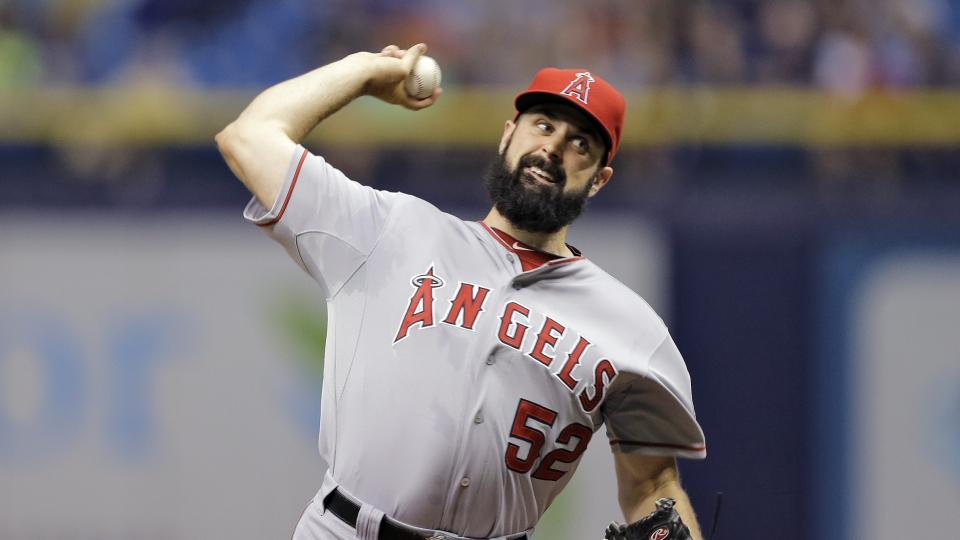 Los Angeles Angels starting pitcher Matt Shoemaker (52) delivers to the Tampa Bay Rays during the first inning of a baseball game Friday, Aug. 1, 2014, in St. Petersburg, Fla. (AP Photo/Chris O'Meara)