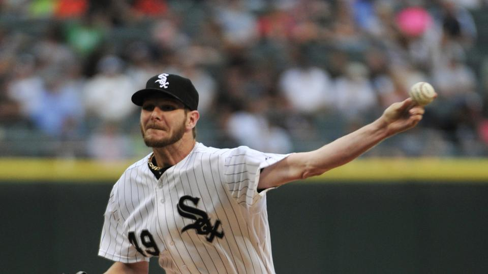 Chicago White Sox pitcher Chris Sale throws against the Minnesota Twins during the first inning of a baseball game, Friday, Aug. 1, 2014, in Chicago. (AP Photo/David Banks)