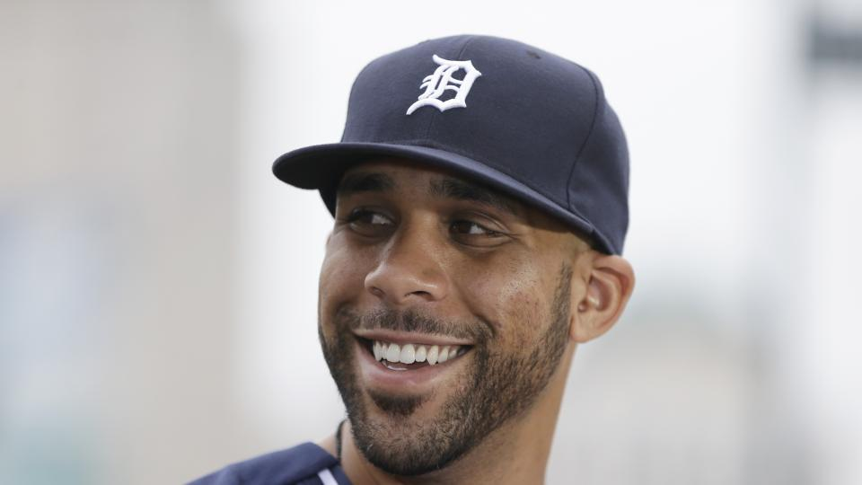 Detroit Tigers starting pitcher David Price is interviewed before an interleague baseball game against the Colorado Rockies, Saturday, Aug. 2, 2014, in Detroit. (AP Photo/Carlos Osorio)