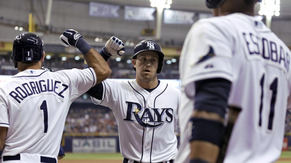 Tampa Bay Rays' Evan Longoria, center, high fives teammates Sean Rodriguez, left, and Yunel Escobar after his home run off Los Angeles Angels starting pitcher C.J. Wilson during the first inning of a baseball game Saturday, Aug. 2, 2014, in St. Petersburg